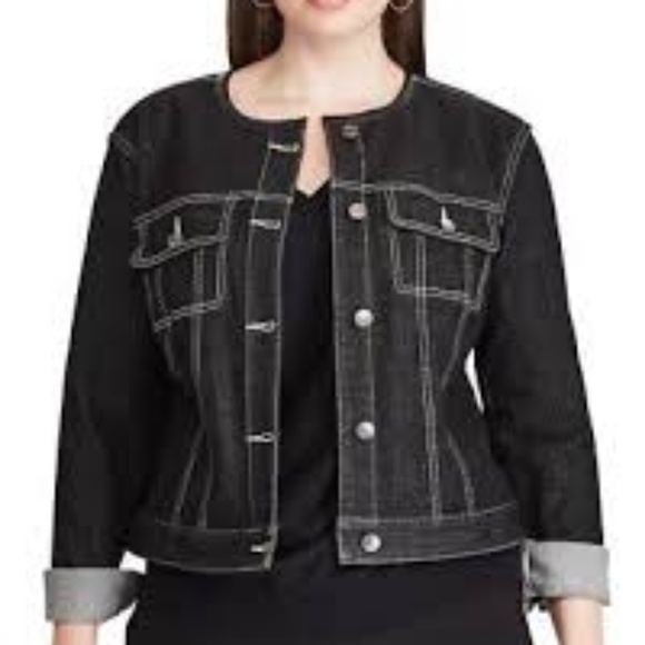 c186d736b4b4b Chaps Plus Size Chaps Cropped Black Denim Jacket